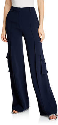 Cinq à Sept Kai Wide-Leg Crepe Pants w/ Cargo Pockets