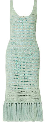 Arari Dance Tasseled Crochet-knit Midi Dress - Mint