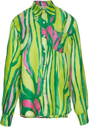 Marni Long Sleeve Silk Polo Neck Blouse