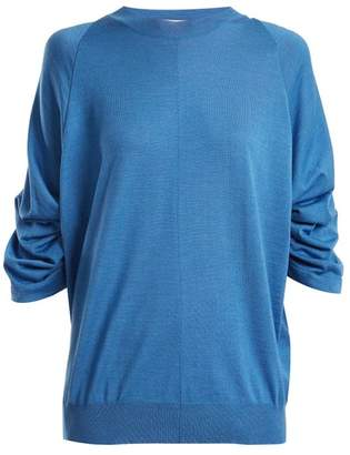 Stella McCartney Ruched Sleeve Wool Blend Sweater - Womens - Blue
