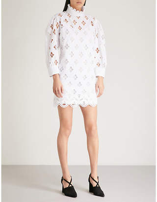 Sandro Ruffled cutout cotton mini dress