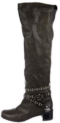 Stuart Weitzman Leather Studded Boots