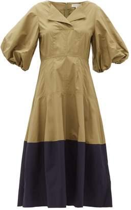 Lee Mathews - Elsie Puff Sleeve Cotton Poplin Lantern Dress - Womens - Green