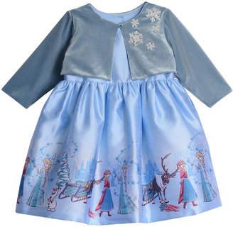 Pippa Disney X & Julie Disney Frozen Border Print Dress W\/Snowflake Shrug Size 4-8
