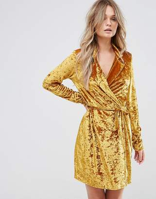 Club L Crushed Gold Velvet Wrap Dress