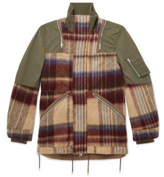 Sacai Oversized Panelled Wool-blend And Nylon Jacket - Beige