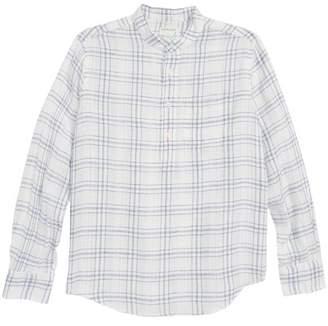 crewcuts Windowpane Band Collar Linen Blend Shirt (Toddler Boys, Little Boys & Big Boys)