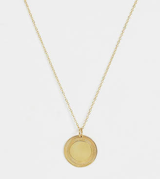 Asos Design DESIGN Sterling silver with gold plate necklace with etched disc pendant