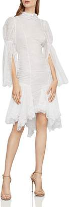BCBGMAXAZRIA Puff-Sleeve Asymmetric Lace Dress