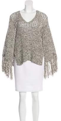 Derek Lam Open Knit Fringe-Trimmed Sweater