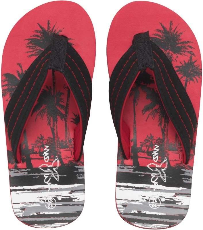 Mad Wax Junior Boys Palm Tree Print Flip Flops Black/Red