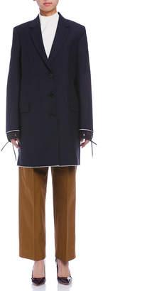 Jil Sander (ジル サンダー) - Jil Sander 配色エッジ 異素材カフ コート ネイビー 36