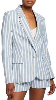 L'Agence Scout Striped Linen Blazer
