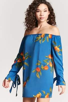Forever 21 Satin Fruit Print Dress