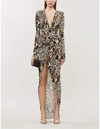 Alexandre Vauthier V-neck leopard-print stretch-jersey gown