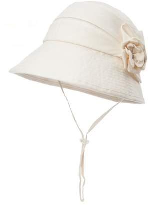 Siggi Womens UPF50+ Linen/Cotton Summer Sunhat Bucket Packable Foldable Wide Brim Hats w/ Chin Cord Beige