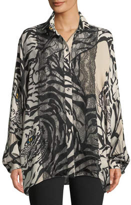 Valentino Long-Sleeve Button-Front Tiger-Print Georgette Blouse w/ Lace Detail