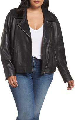 Lucky Brand Pin Dot Leather Moto Jacket