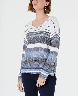 Style&Co. Style & Co Petite Striped Drop-Shoulder Sweater