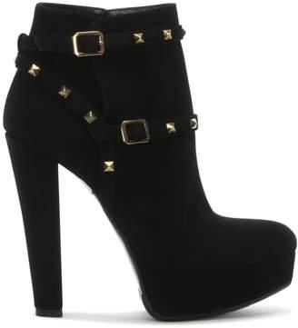 Angela Almir Black Suede Studded Platform Ankle Boots