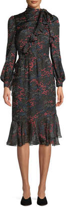 Co Long-Sleeve Floral-Print Silk Chiffon Dress w/ Asymmetric Tiered Hem