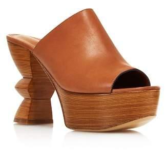 Salvatore Ferragamo Women's Carved Heel Platform Mule Sandals