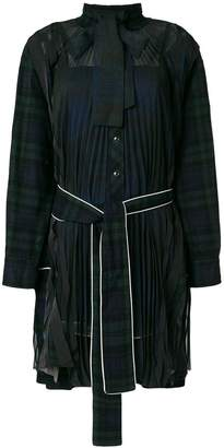 Sacai tartan waisted shirt dress