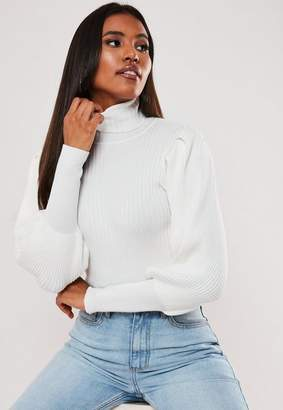 Missguided White Turtle Neck Puff Sleeve Knit Crop Top