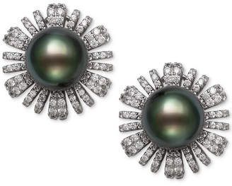 Belle de Mer Cultured Black Tahitian Pearl (9mm) & Cubic Zirconia Flower Stud Earrings in Sterling Silver