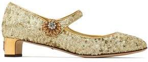 Dolce & Gabbana Sequined Metallic Leather Mary Jane Pumps