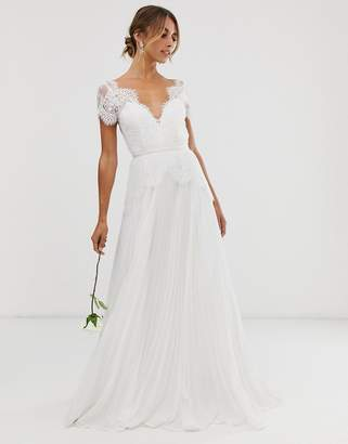 Asos Edition EDITION plunge lace wedding dress with pleated skirt