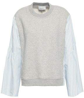 ca45610ffcf56d 3.1 Phillip Lim Striped Poplin-paneled French Cotton-terry Top