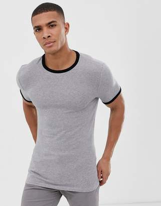 740e0160b59 Asos Design DESIGN muscle fit crew neck t-shirt with stretch with contrast  ringer in