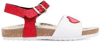 MonnaLisa Glittered Faux Patent Leather Sandals