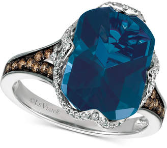 Le Vian Chocolatier® Blue Topaz (6-9/10 ct. t.w.) and Diamond (3/8 ct. t.w.) Ring in 14k White Gold $4,211 thestylecure.com