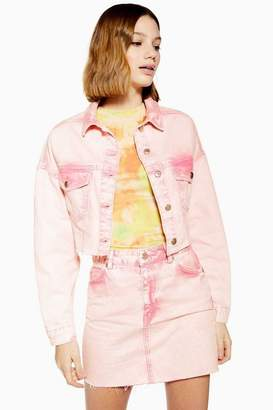 Topshop Womens Pink Acid Wash Hacked Denim Jacket