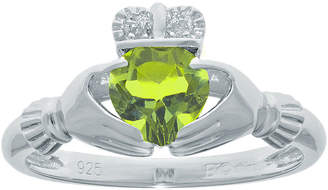 JCPenney FINE JEWELRY Heart-Shaped Genuine Peridot and Diamond-Accent Sterling Silver Claddagh Ring