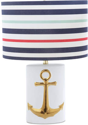 Ceramic Table Lamp with Striped Linen Shade