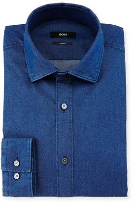 Boss Hugo Boss Isaak Slim-Fit Denim Dress Shirt $235 thestylecure.com