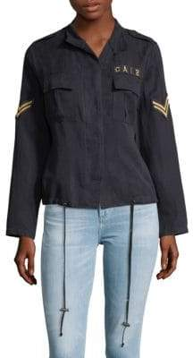 Patched Button Front Jacket