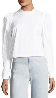 Veronica Beard Isabel Button-Back Pouf-Sleeve Poplin Shirt