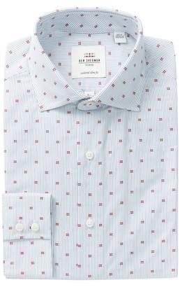 Ben Sherman Red Clip Fine Line Print Slim Fit Dress Shirt