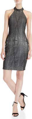 Bebe Metallic Lace Halter Mini Dress