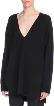 Proenza Schouler V-Neck Long-Sleeve Wool Silk-Cashmere Tunic Sweater