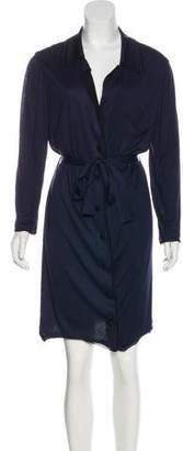 Lanvin Button-Up Long Sleeve Dress