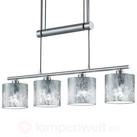 Pendellampe Garda 4fl m. Kunststoffschirmen silber