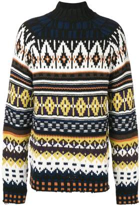 MSGM intarsia-knit high neck jumper