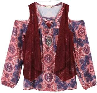 Speechless Girls 7-16 Vest, Cold Shoulder Top & Cami Set with Necklace