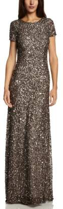 Adrianna Papell Women's Short Sleeve All Over Sequin Gown,4