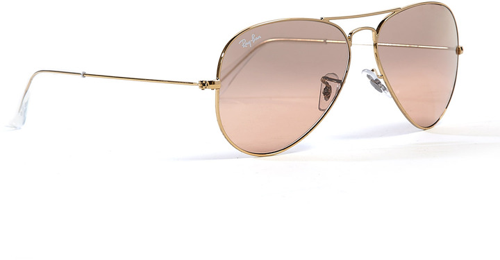 Ray-Ban Pink Lens Classic Gold Aviator Sunglasses
